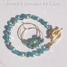 Aqua Pearls & Crystals, 2Pc Gold Set... Hoop Earrings & Toggle Bracelet