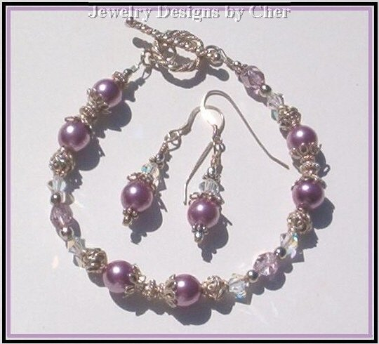 Violet Pansy PEARL CRYSTAL  Bali Sterling Silver SET