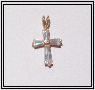 10Kt Gold CZ DIAMOND BAGUETTE CROSS Pendant