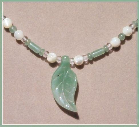 JADE & MOTHER OF PEARL NECKLACE Jade Leaf Pendant