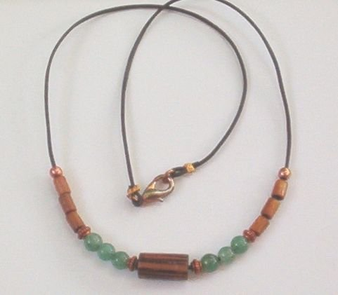 ADVENTURINE  WOOD & COPPER Unisex 18 Inch Necklace