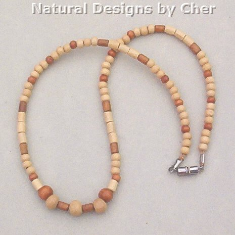 2Tone WOOD BEAD NECKLACE Unisex 19 Inch Lightweight!