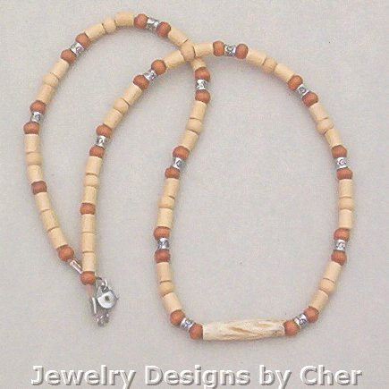 2Tone BONE & WOOD NECKLACE Unisex 20 Inch