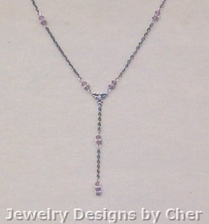 AMETHYST CRYSTAL Y NECKLACE 19 In Gunmetal Chain