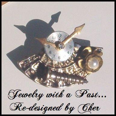 "Vintage Costume ""TIMELESS"" PIN/BROOCH Antique Brass"