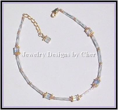 CRYSTAL AB CUBE GOLD VERMEIL ANKLET Dainty - Adjustable!