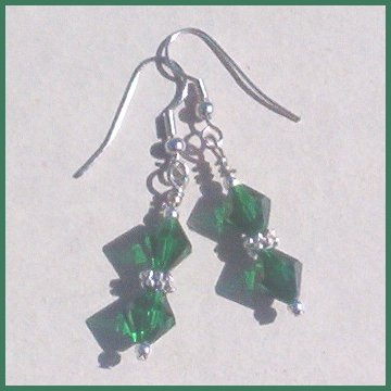 EMERALD CRYSTAL Hypo-Allergenic Silver Earrings MAY GIFT!