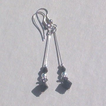 Swarovski JET CRYSTAL STILETTO Silver Earrings