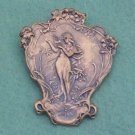 Art Nouveau Shawl or Scarf Pin/Brooch... Antiqued Brass Repousse Stamping