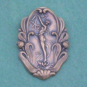 Vintage Art Nouveau Wood Nymph Pin/Brooch... Antique Brass Repousse
