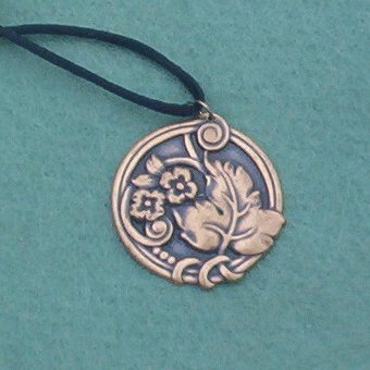 Vintage Brass Art Nouveau REPOUSSE FLOWER PENDANT on Black Satin Cord