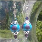 TURQUOISE & PURPLE Lampwork Earrings Swarovski & Sterling Silver