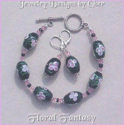 Floral Fantasy LAMPWORK SET Black & Pink Swarovski Crystals