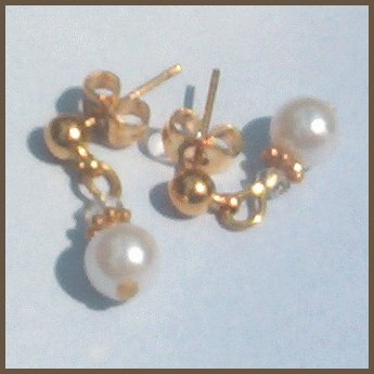 Petite PEARL & CRYSTAL Gold Ball Post Earrings CLASSIC!