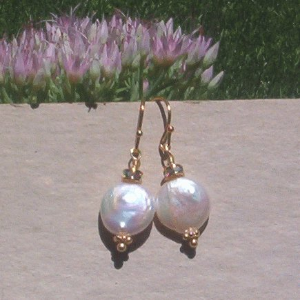 COIN PEARL GOLD VERMEIL EARRINGS Swarovski Crystals