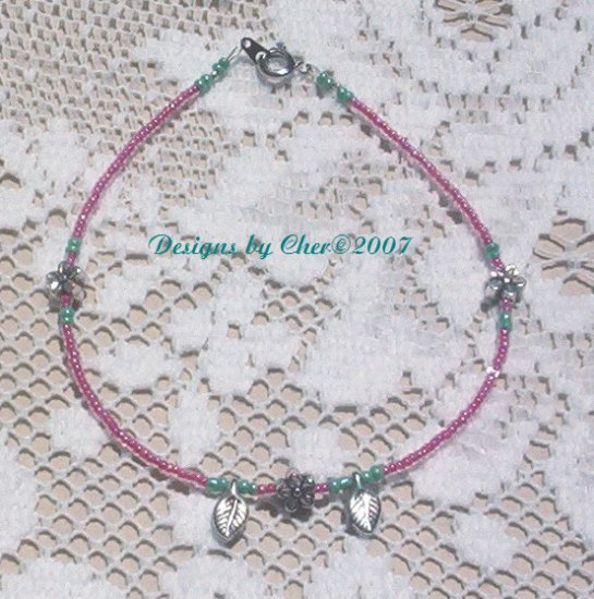Sweet ROSE FLOWER & LEAF ANKLET Silvertone