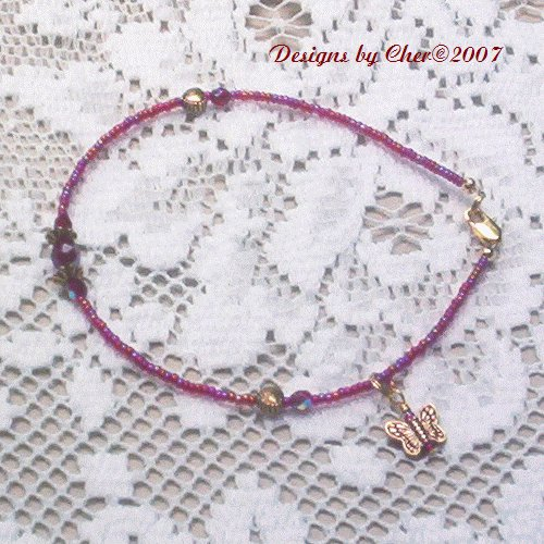 ANTIQUE GOLD GARNET & CRYSTAL BEADED ANKLET