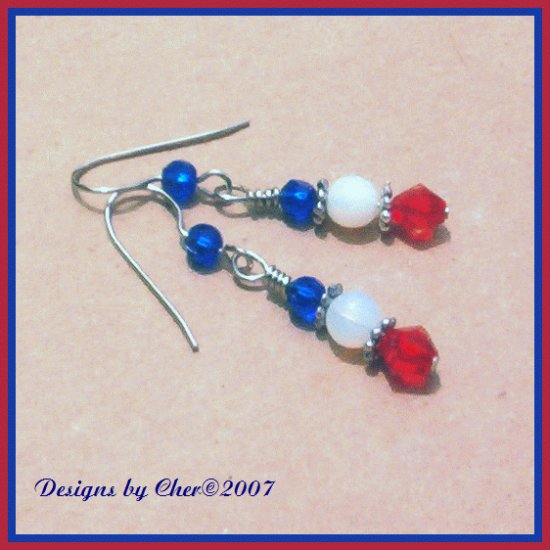 RED WHITE BLUE Glass Opal & Crystal Silver Earrings