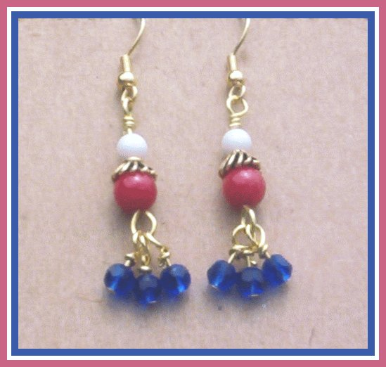 RED WHITE BLUE Dangling Cluster Earrings