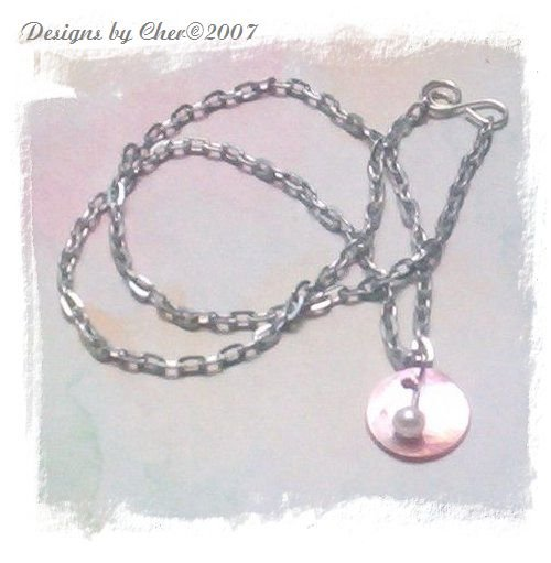 PINK SHELL and PEARL Pendant, Adjustable Aluminum Necklace