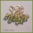 Olivine & Gold STITCH MARKERS, Set of 6 - Handmade