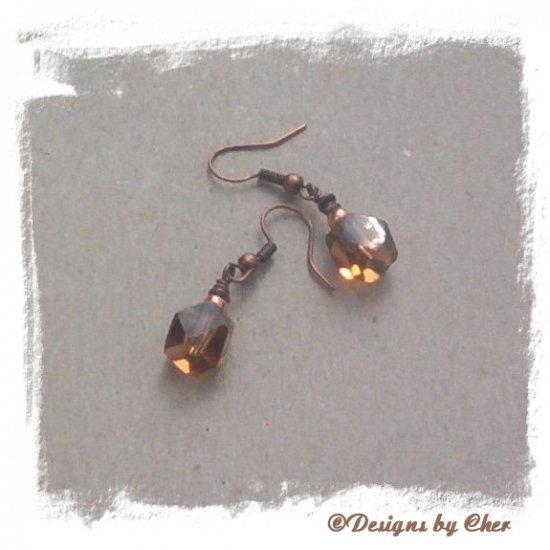 Diamond Cut MAHOGANY Glass CUBES & Antique Copper Earrings
