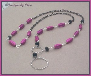HOT PINK & JET Eyeglass Pendant, Gunmetal Necklace HANDMADE!