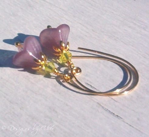 Amethyst Flowers & Swarovski Crystal Gold Earrings