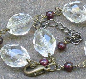 Garnets & Glass... Bold & Dainty Adjustable Bracelet