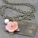 I Love You Postcard Necklace - Pearl & Flower Charms, Antiqued Brass
