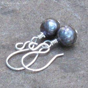 Petite Peacock Pearl Earrings in Sterling Silver