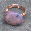 Purple Stone Ring, Wrapped in Copper, Sz 4