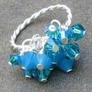 Crystal Blue Persuasion... Sterling Silver Rope Ring, Adjustable