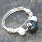 Hematite and Pearls... Wire Wrapped Silver Ring, Sz 7