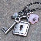 Lock & Key Gunmetal Charm Necklace, Adjustable 15-18""