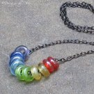 Mini Glass Rainbow... Adjustable Gunmetal Necklace