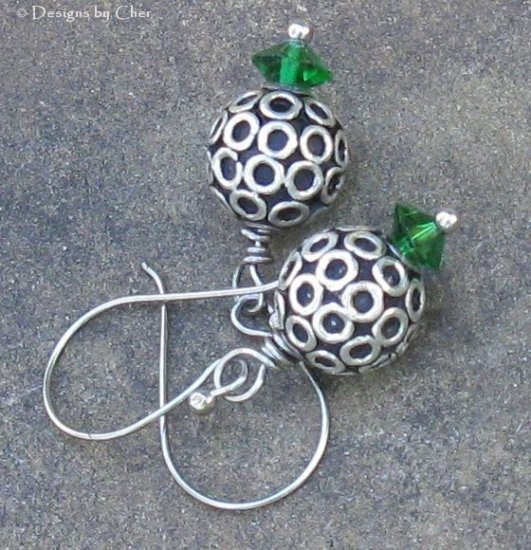 Bali Silver BaLLs & Swarovski Emerald Earrings
