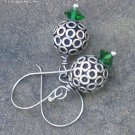 Bali Silver BaLLs & Swarovski Emerald Earrings