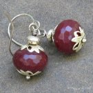 Ruby Quartz Rondelles, Capped Silver Earrings