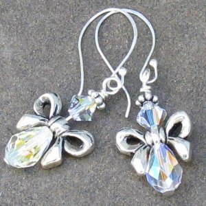 Crystal Bow Angels, Swarovski & Sterling Silver