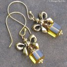 Golden Gifts... Topaz Crystal, Glass Cube and Bow Earrings