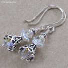 Crystal Angel Earrings - Swarovski and Sterling Silver - Hand Forged Earwires