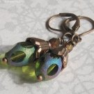 Chartreuse Rainbow Cut Glass, Antique Copper Leverback Earrings