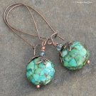 Mosaic Turquoise Antique Copper Earrings, Long Kidney Wires