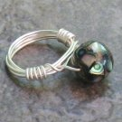 Paua Shell & Mother of Pearl Ring, Wire Wrapped in Silver
