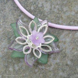 Lilac Flower Pendant on Lt Plum Greek Leather Cord Necklace