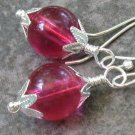 Raspberry Orbs... Wrapped, Capped Silver Dangle Earrings
