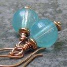 Aqua Orbs... Glass Wrapped in Copper, Handmade Earrings