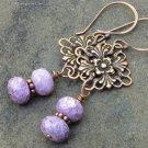 Copper Floral Filigree Earrings, Amethyst Picasso Glass, on Hand Forged Earwires