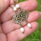 Freshwater Pearl Antique Brass Filigree Earrings... Lightweight Danglers